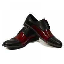 Black & Burgundy Elegant Men's Shoes - 40 EU - Handmade Colorful Italian Leat... - $149.00