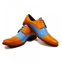 Blue & Orange Elegant Men's Shoes - 40 EU - Handmade Colorful Italian Leather... - $149.00