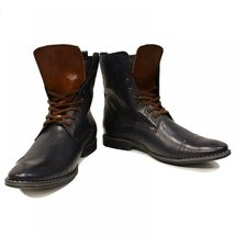 Black & Brown High Boots Men's Elegant Shoes - 45 EU - Handmade Colorful Ital... - $149.00
