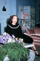 Joan Crawford rare color at home by fireplace 1940's 18x24 Poster - $23.99