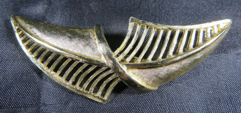 "Vintage Fashion Jewelry Lady Leaf Coro Brooch Retro Gold Color 2""3/4"