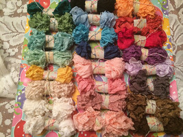 SHABBY CRINKLED RIBBON~20 Yards~Seam Binding-You Pick All Colors-24 Fab ... - $6.98