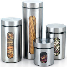 Stainless steel Canister Glass window 4 pieces ... - $56.83