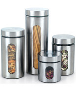 Stainless steel Canister Glass window 4 pieces Kitchen Organizer Food St... - $56.83