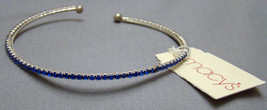 Macy's Blue Faux Diamond Stone and Silver Bangle Braclet - $10.25