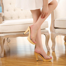 Ps290 cutie crystal high-heeled sandals, size 35-40, yellow - $42.80