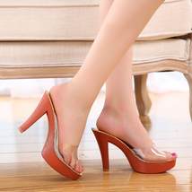 Ps290 cutie crystal high-heeled sandals, size 35-40, red - $42.80