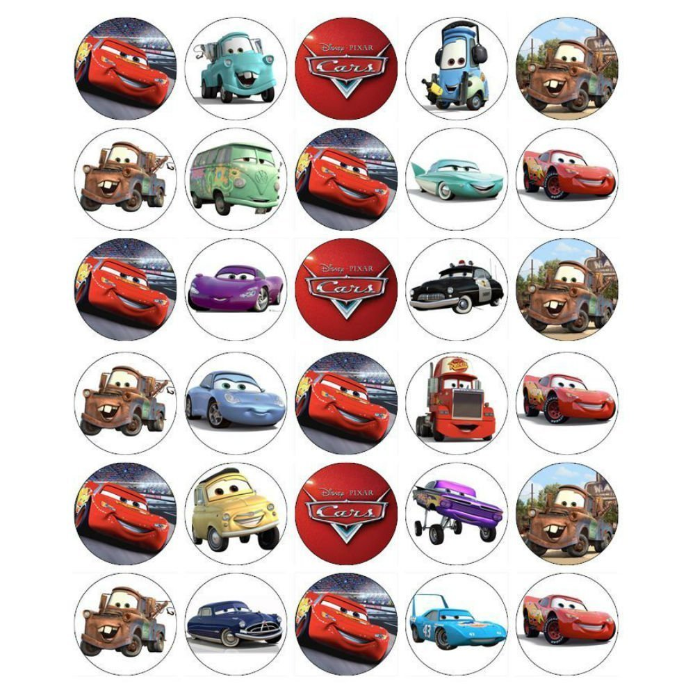 Edible Image Toppers Reviews : Cars Lightning Mcqueen Cupcake Toppers and 50 similar items