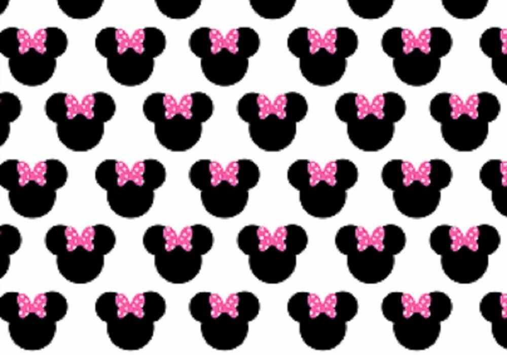 EDIBLE ICING BACKGROUND SHEET PINK BOW MINNIE MOUSE