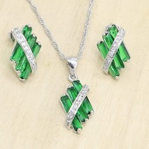 Women  Silver Color Green Semi-precious Jewelry Sets Stud Earrings Neckl... - $21.45