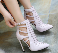 PS288 cutie cylinder strappy ankle sandals, size 34-40, violet - $42.80