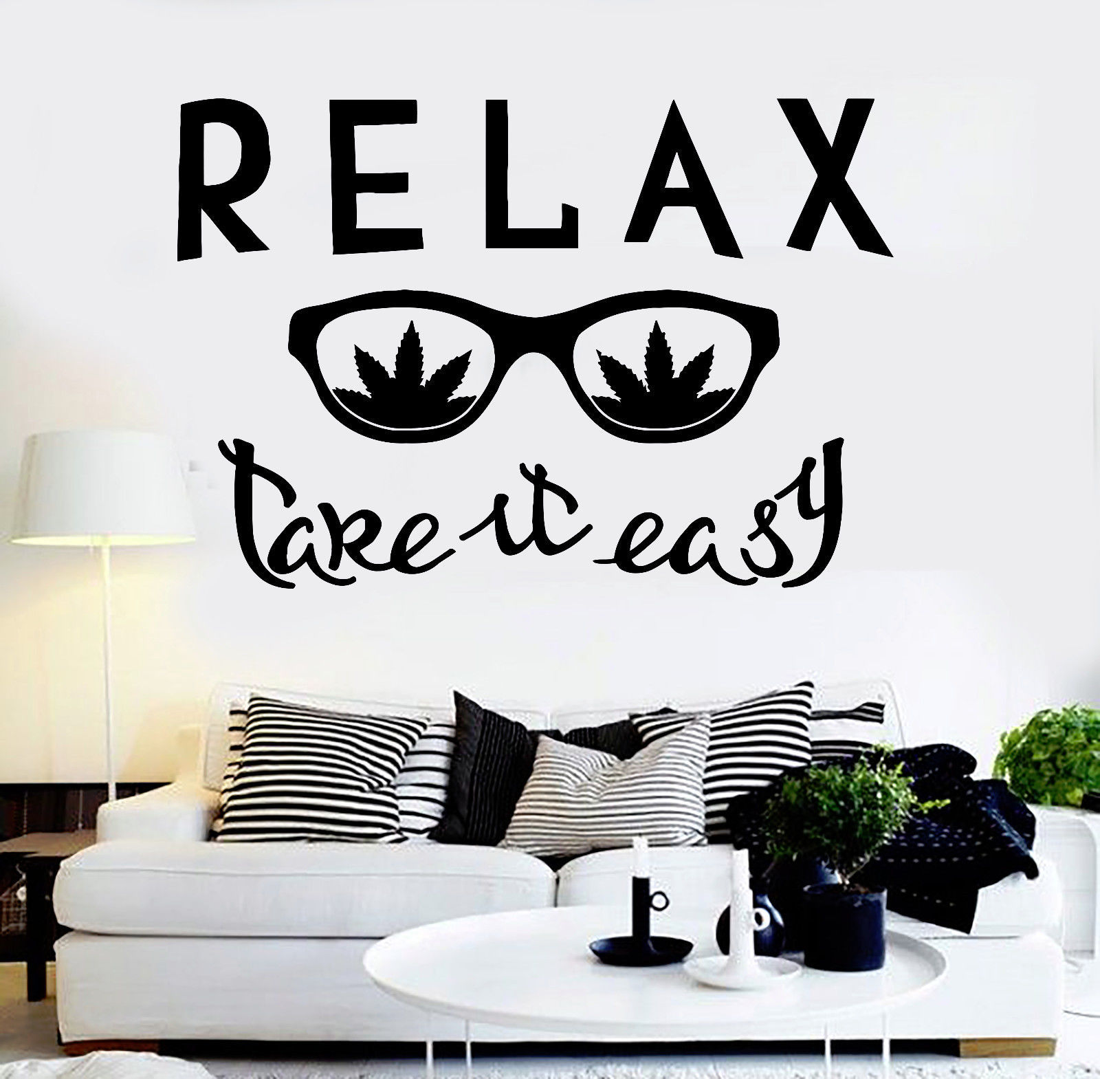 Vinyl Wall Decal Relax Glass Weed Quote Hippie Cannabis
