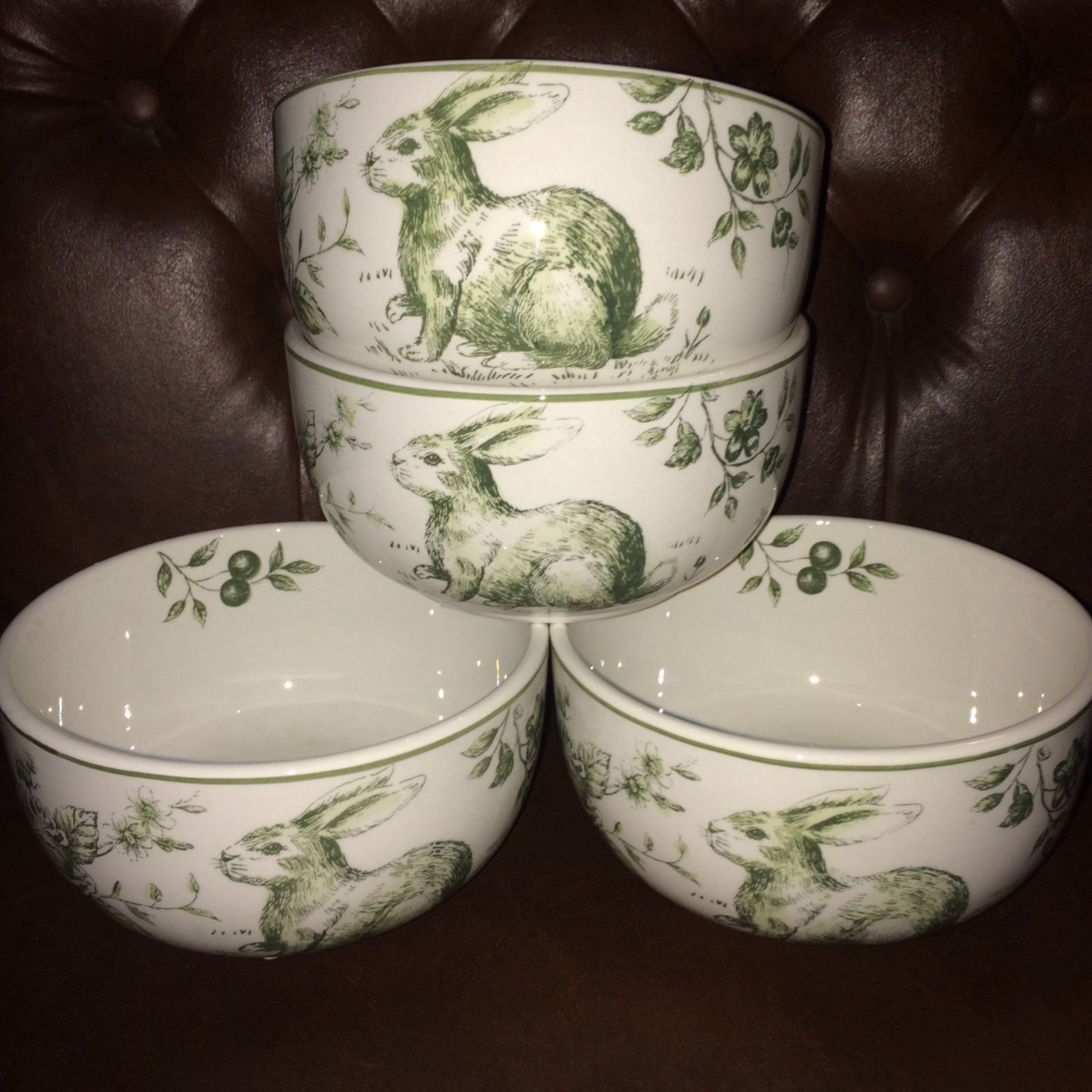 Maxcera Green White Toile Bunny Rabbit and 50 similar items