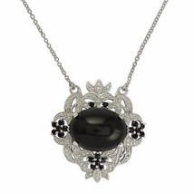 Wonderful Design Black Star, Black Spinel & White Topaz Stone Necklace SHNL0031 - $61.07
