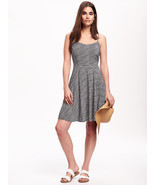 Old Navy Women Cami Dress Sundress XS S Black Geo Print Rayon Sweatheart... - £19.72 GBP