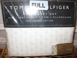 Tommy Hilfiger MELROSE Aqua Floral Dot 4P Full Sheet Set - $56.95