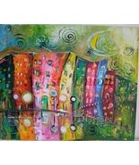 Magical Rain City Street Original Acrylic Painting Artist Fairy Tale Kids Moon - $180.00