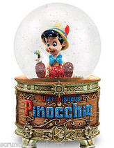 Disney Store Pinocchio and Jiminy Cricket Snowglobe Music Lighted 2016 New - $199.95
