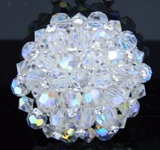 VTG RARE Clear AB Demi Parure Crystal Rhinestone Accented Glass Pin Broo... - $29.70