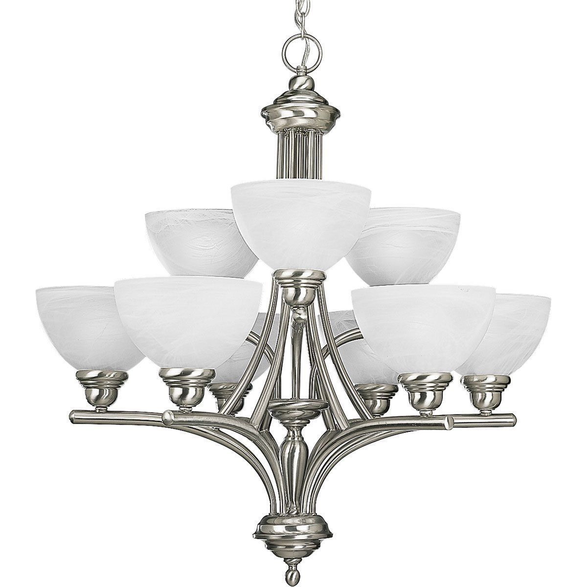 Glendale Collection Brushed Nickel Hanging Chandelier Light Kitchen P4085-09