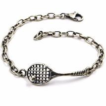 Silber Armband 925, Brüniert und Matt, Schläger und Ball von Tennis - $68.13