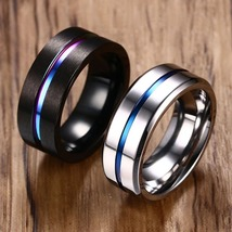8mm Ring for unisex Groove Rainbow Stainless Steel Bands Fraternal Jewelry - $18.99