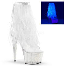 "Sexy Stripper Dancer 7"" High Heel Platform White Marabou Fur Fringe Ankle Boots - $89.95"