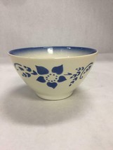 Luneville Vintage Pottery Bowl Blue Flower Pattern Marked - $39.59