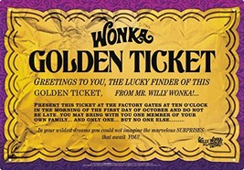 Aquarius Willy Wonka Golden Ticket Tin Sign - $9.55