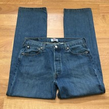 Levis 501 Button Fly Jeans Mens 36 x 32 Straight Leg Med Wash  - $23.21