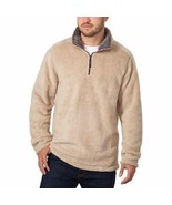 Trinity Mens Sweater Khaki Tan Charcoal Pullover Plush 1/4 Zip Soft Mock... - $34.99