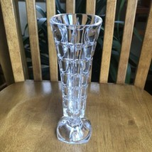 Cristal d Arques France Soliflor Crystal Flower Vase Square Cut Pattern Vintage - $11.88