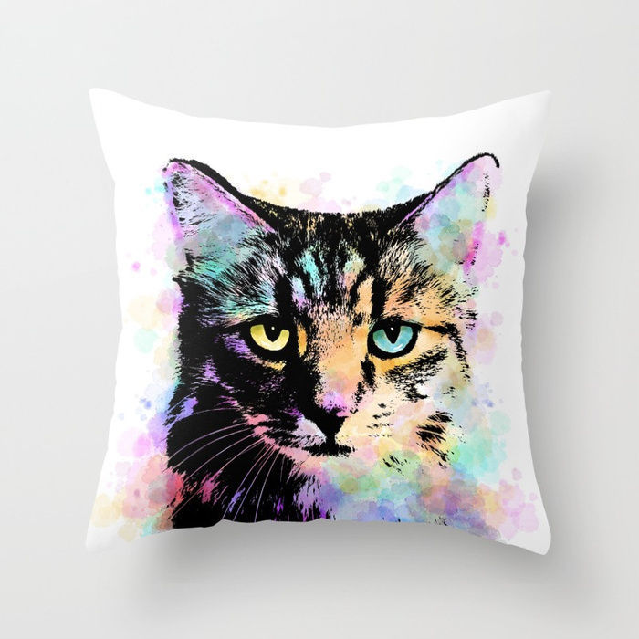 Throw Pillow Cushion case Made in USA Cat 618 orange aqua pink white L.Dumas