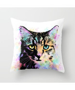 Throw Pillow Cushion case Made in USA Cat 618 orange aqua pink white L.D... - €25,47 EUR+