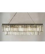 Retro Palladium Glass Fringe Rectangular Chandelier Chandeliers Lighting... - $291.19
