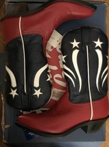 VTG Tony Lama Boots Z0260 Red Majestic Navy Delegance size 6 1/2 B with Tag image 1