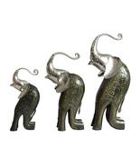 3 set of Sitting elephant Indian Home Decor item Indian Iron Handicraft - $94.99