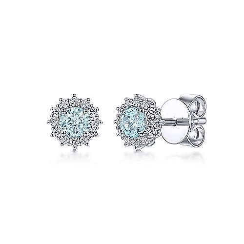 Primary image for 14K White Gold Plated 1Ct Round Cut Topaz & Diamond Halo Fashion Stud Earrings