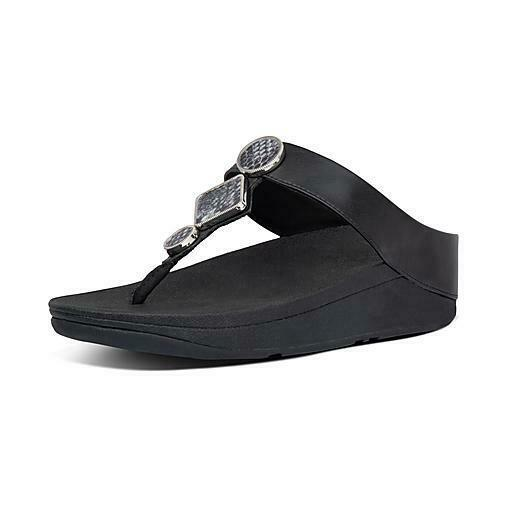 Primary image for New FitFlop LEIA Toe Thongs Post All Black Women's Platform Sandals Flip Flop 8