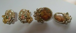 Vintage Signed Marie Antoinette Clip-on Earrings Flower, Pearl- 2 Pair - $59.40