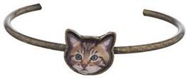 Lux Accessories Burnish Goldtone Cat Face Kitten Meow Delicate Cuff Bracelet - $19.13