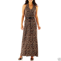 R&K Originals Leopard Print Belted Maxi Dress Size XL New Msrp $60.00 - $24.99