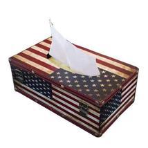 PANDA SUPERSTORE Retro USA flag Napkin Box/Tissue Box (25.5159cm)