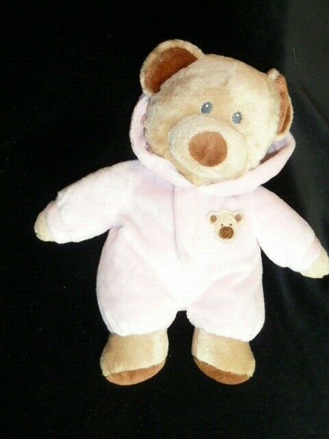 Primary image for 2010 Ty Pluffies PJ BEAR Pink Plush Sewn Eyes Stuffed Beanie LOVEY 10""