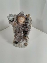 resin sparkly angel with snow flake and tree purple coat - $19.80