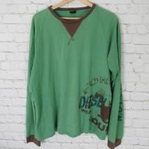 Diesel Camisa de Manga Larga Hombres XL Verde Marrón Detalle Estampada - $35.04