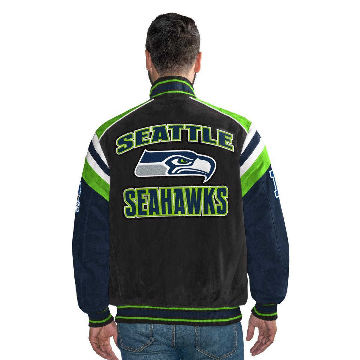 Primary image for G-III Officially Licensed NFL Seattle Seahawks Varsity Suede Leather Jacket MED