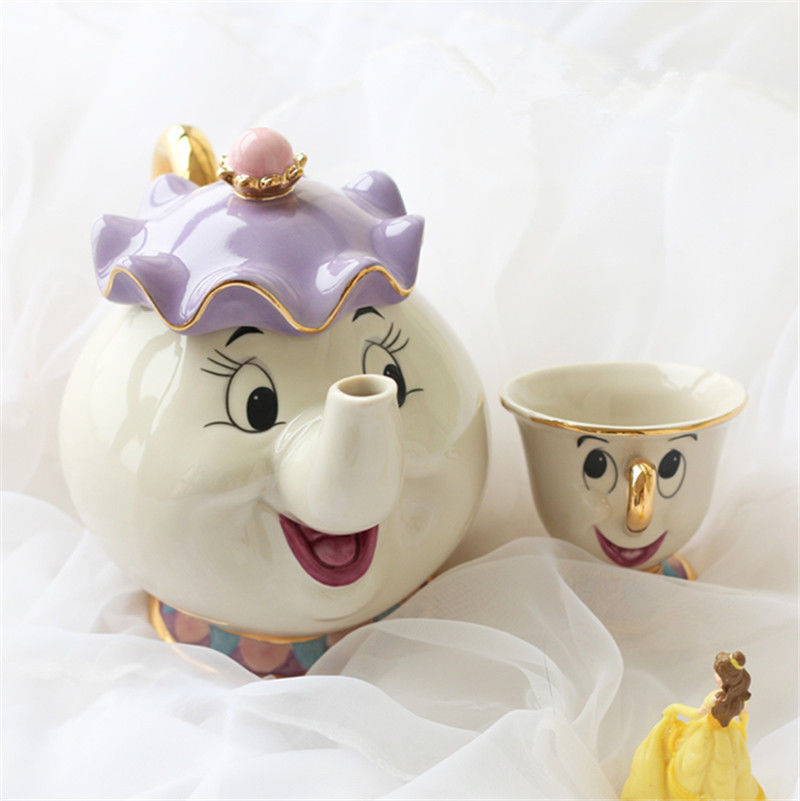 Ceramic Beauty And The Beast Cartoon Mrs Potts POT & Chip Cup Mug Tea Set Teapot