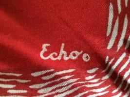 LOVELY VINTAGE RED ECHO LADIES GEOMETRIC DESIGNER SCARF, HAND ROLLED, VG - $11.29