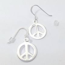 Peace Sign Earrings Sterling Silver Dangle Earrings - $20.70
